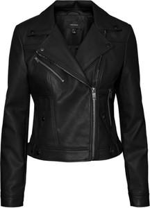 Czarna kurtka WARESHOP ze skóry w rockowym stylu