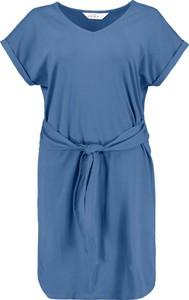 Niebieska sukienka Ulla Popken mini z krótkim rękawem