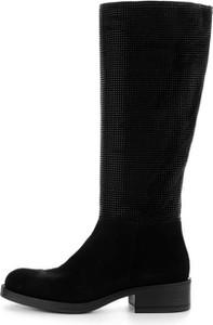 Prima moda czarne kozaki ze skóry zamszowej z ozdobną cholewką