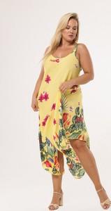 Żółta sukienka born2be na ramiączkach