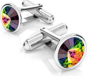 GIORRE SREBRNE SPINKI DO MANKIETU SWAROVSKI RIVOLI 925 : Kolor kryształu SWAROVSKI - Crystal VM, Kolor pokrycia srebra - Pokrycie Jasnym Rodem
