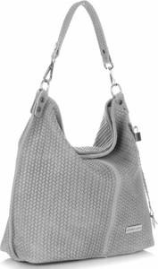 Uniwersalne torebki skórzane typu shopperbag vittoria gotti jasno szare