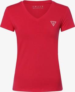Czerwony t-shirt Guess Jeans z dżerseju