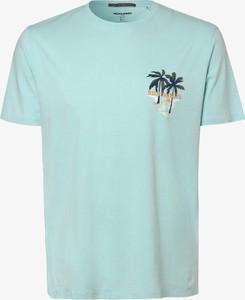 Niebieski t-shirt Jack & Jones w młodzieżowym stylu z dżerseju z nadrukiem