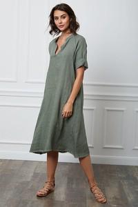 Zielona sukienka Fleur De Lin z kołnierzykiem