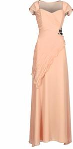Sukienka Fokus z dekoltem w kształcie litery v maxi z szyfonu