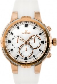 acc8451169554 Gino Rossi ZEGAREK MĘSKI G. ROSSI - 11149B Biały | Różowe złoto