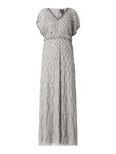 Sukienka Adrianna Papell z dekoltem w kształcie litery v maxi z szyfonu