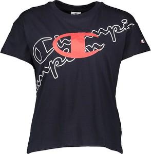 Czarna bluzka Champion z okrągłym dekoltem z krótkim rękawem w młodzieżowym stylu
