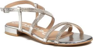 Srebrne sandały GIOSEPPO ze skóry z płaską podeszwą