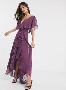 Fioletowa sukienka Asos Design z krótkim rękawem