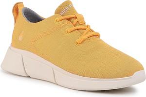 Żółte buty sportowe eobuwie.pl na platformie sznurowane