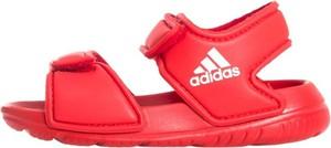 Czerwone buty dziecięce letnie Adidas na rzepy dla chłopców