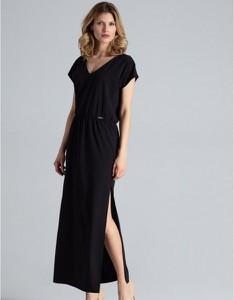 Sukienka Figl z dekoltem w kształcie litery v z krótkim rękawem maxi