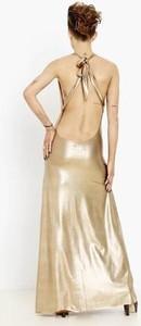Złota sukienka AGI JENSEN maxi z tkaniny