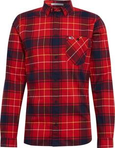 Czerwona koszula Tommy Jeans z bawełny z klasycznym kołnierzykiem