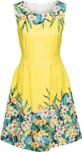 Sukienka bonprix BODYFLIRT boutique z okrągłym dekoltem bez rękawów rozkloszowana