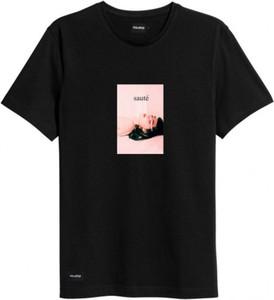 Czarny t-shirt MAJORS z krótkim rękawem z bawełny