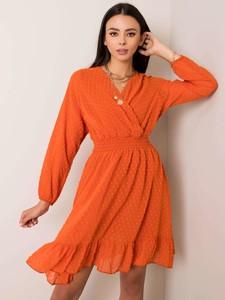 Pomarańczowa sukienka Sheandher.pl z dekoltem w kształcie litery v z długim rękawem mini