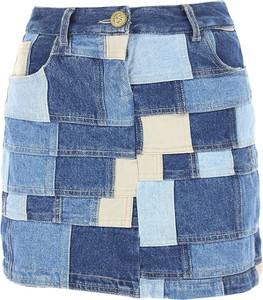 Niebieska spódnica Romeo Gigli mini z bawełny