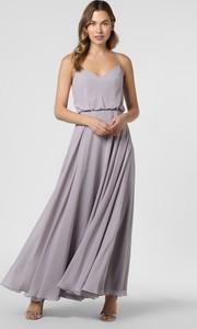 Fioletowa sukienka Laona z dekoltem w kształcie litery v z szyfonu maxi