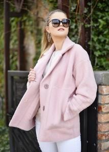 Różowy płaszcz Fason w stylu casual