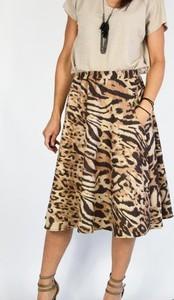 Brązowa spódnica Collibri z dzianiny midi w stylu casual