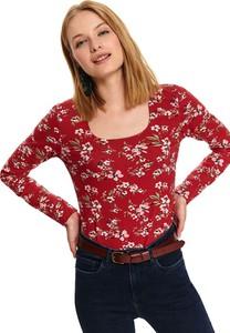Czerwony t-shirt Top Secret z długim rękawem w stylu casual