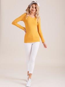 Żółta bluzka Sheandher.pl z okrągłym dekoltem z długim rękawem w stylu casual