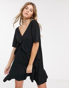 Czarna sukienka Asos Design oversize z krótkim rękawem