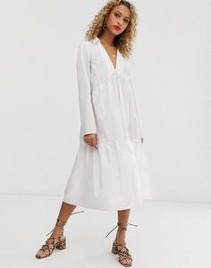 Sukienka Asos maxi z bawełny oversize