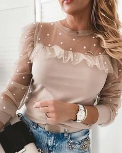 Bluzka Kendallme z długim rękawem w stylu casual z okrągłym dekoltem