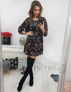 Sukienka Dstreet z okrągłym dekoltem w stylu casual