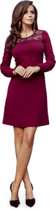 Czerwona sukienka Moda Dla Ciebie mini z długim rękawem