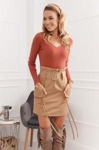 Pomarańczowa bluzka Fasardi w stylu casual