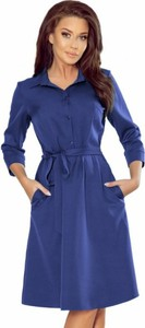 Niebieska sukienka NUMOCO w stylu casual z długim rękawem koszulowa