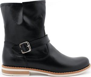 Czarne botki Zapato ze skóry z płaską podeszwą