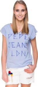 Niebieski t-shirt Pepe Jeans z krótkim rękawem w młodzieżowym stylu