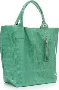 Zielona torebka GENUINE LEATHER ze skóry duża do ręki