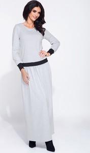 Sukienka Bien Fashion z długim rękawem z bawełny z okrągłym dekoltem