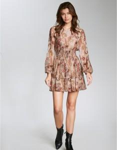 Sukienka MATIN by Paula Cas z jedwabiu z długim rękawem
