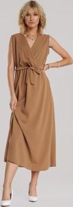 Brązowa sukienka Renee z dekoltem w kształcie litery v bez rękawów midi