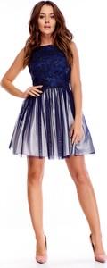 Sukienka Ptakmoda.com bez rękawów z tiulu rozkloszowana