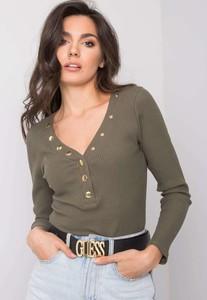 Zielona bluzka Sheandher.pl w stylu casual z dekoltem w kształcie litery v