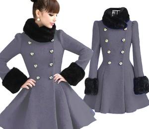 Styl asyk damski zimowy rozkloszowany płaszcz szary