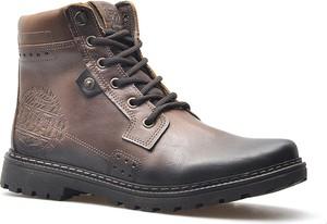 Brązowe buty zimowe Pegada ze skóry