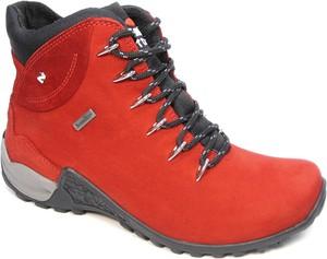 b627585f Czerwone buty trekkingowe NIK w sportowym stylu z płaską podeszwą ze skóry