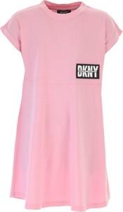 Różowa sukienka dziewczęca DKNY z bawełny