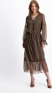 Brązowa sukienka Lavard z długim rękawem