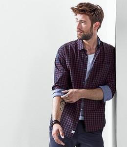 Fioletowa koszula Tchibo z długim rękawem w stylu casual